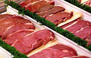 The ideal time to sell fresh beef, pork, and lamb is when the meat is blooming.